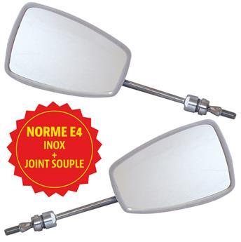 Paire rétroviseurs extérieurs pour Méhari - Top Qualité Norme E4 (Inox + joint)