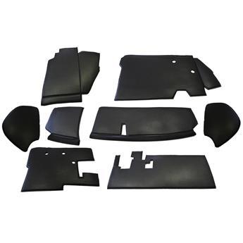 Ensemble garnitures de tabliers noirs en Skaï cousus sur mousse - 8 pièces - Livré avec bourrelet