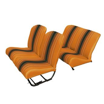 Lot garnitures (2 sièges AV Sym + banq . AR) Tissu ORANGE RAYE