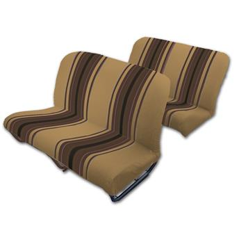 Lot garnitures  (banquettes AVANT + ARRIERE) Tissu MARRON RAYE