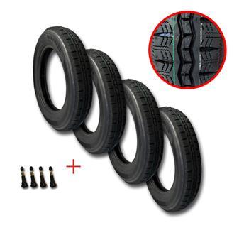 Lot de 4 pneus 125 / 15 2CVP RACING + 4  valves pour jante