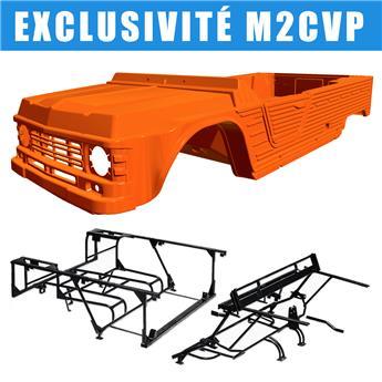 Kit carrosserie ORANGE KIRCHIZ nouveau modèle pour Méhari + Châssis tubulaires AVANT+ ARRIERE NOIRS