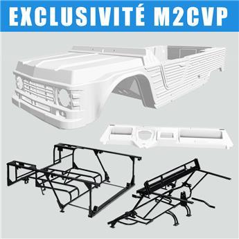 Kit carrosserie BLANC nouveau modèle avec tableau de bord ancien modèle Méhari + Châssis tubulaires AVANT+ ARRIERE NOIRS