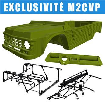 Kit carrosserie VERT MONTANA nouveau modèle avec tableau de bord ancien modèle pour Méhari + Châssis tubulaires AVANT+ ARRIERE NOIRS