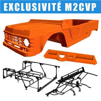 Kit carrosserie ORANGE KIRCHIZ nouveau modèle avec tableau de bord ancien modèle Méhari  + Châssis tubulaires AVANT+ ARRIERE NOIRS