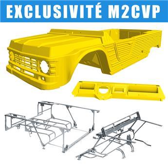Kit carrosserie JAUNE ATACAMA nouveau modèle avec tableau de bord ancien modèle Méhari + Châssis tubulaires AVANT + ARRIERE GALVANISES