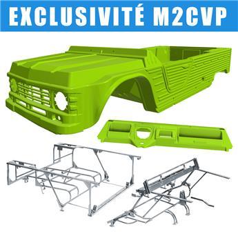 Kit carrosserie VERT TIBESTI nouveau modèle avec tableau de bord ancien modèle pour Méhari + Châssis tubulaires AVANT + ARRIERE GALVANISES