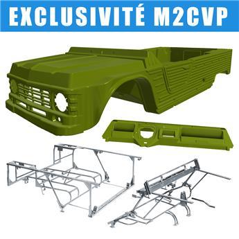 Kit carrosserie VERT MONTANA nouveau modèle avec tableau de bord ancien modèle pour Méhari + Châssis tubulaires AVANT + ARRIERE GALVANISES