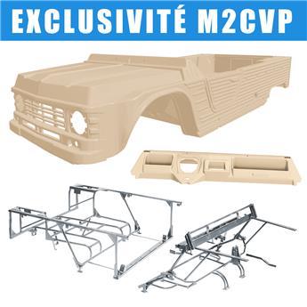 Kit carrosserie BEIGE HOGGAR nouveau modèle avec tableau de bord ancien modèle Méhari + Châssis tubulaires AVANT + ARRIERE GALVANISES