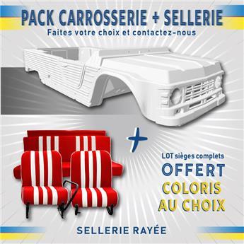 Kit carrosserie BLANC nouveau modèle pour Méhari + SELLERIE RAYEE OFFERTE