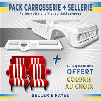 Kit carrosserie BLANC nouveau modèle avec tableau de bord ancien modèle Méhari + SELLERIE RAYEE OFFERTE