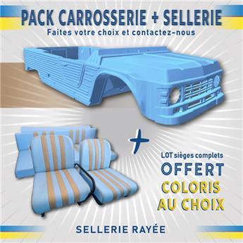 Kit carrosserie BLEU ESKI Nouveau Modèle Méhari + SELLERIE RAYEE OFFERTE