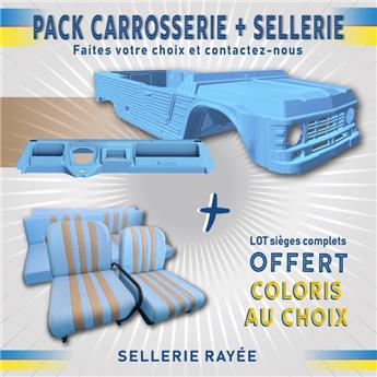 Kit carrosserie BLEU ESKI Nouveau Modèle avec tableau de bord Ancien Modèle Méhari + SELLERIE RAYEE OFFERTE