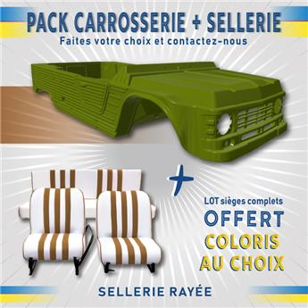 Kit carrosserie VERT MONTANA nouveau modèle Méhari +SELLERIE RAYEE OFFERTE