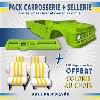 Kit carrosserie VERT TIBESTI nouveau modèle avec tableau de bord ancien modèle pour Méhari + SELLERIE RAYEE OFFERTE