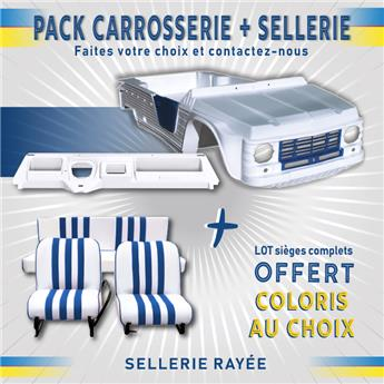 Kit carrosserie BLANC et BLEU Nouveau Modèle avec tableau de bord Ancien Modèle Méhari + SELLERIE RAYEE OFFERTE