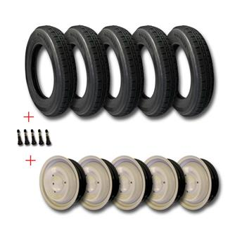 Lot 5 pneus 125/15 2CVP RACING + 5 valves pour jante+5 Jantes Gris rosé standard + MONTAGE OFFERT
